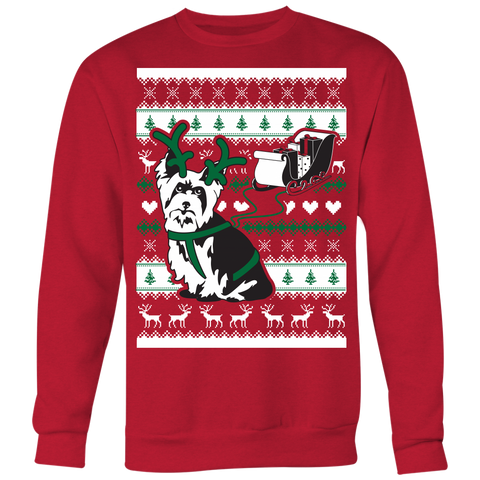 Christmas Yorkshire Terrier Yorkie Pulling Sleigh - Ugly Christmas Sweater Shirt Apparel - c4rsw-5m09