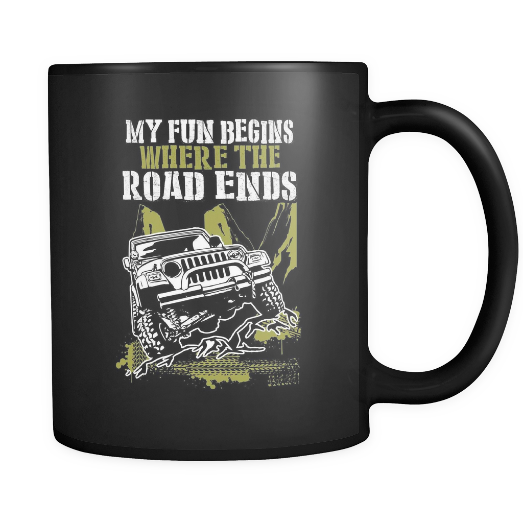 Offroad Coffee Mug 11oz Black - Fun Begins Where Road Ends - 0f4d-b18-mg 463953774