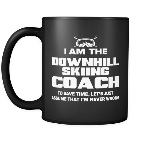 Coach Funny Mug 11oz Black - Downhill Skiing Coach - c09h-b2d-mg	498583914