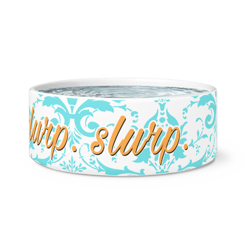 Nom. Nom. Slurp. Slurp. - Funny Dog Bowl - White Ceramic