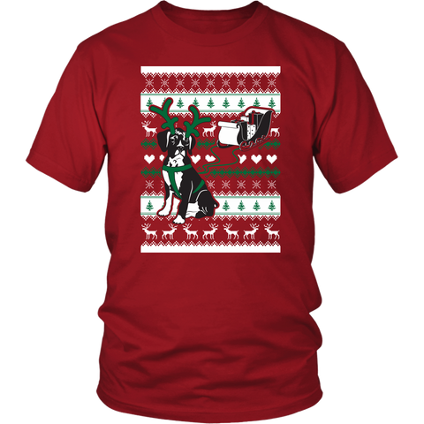 Christmas Boxer Dog Pulling Sleigh - Ugly Christmas Sweater Shirt Apparel - c4rsw-5m04