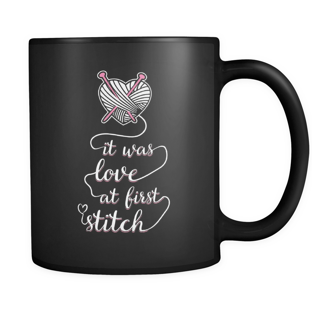 Knitting Coffee Mug 11oz Black - Love At First Stitch - 4n1t-b12-mg 472989279
