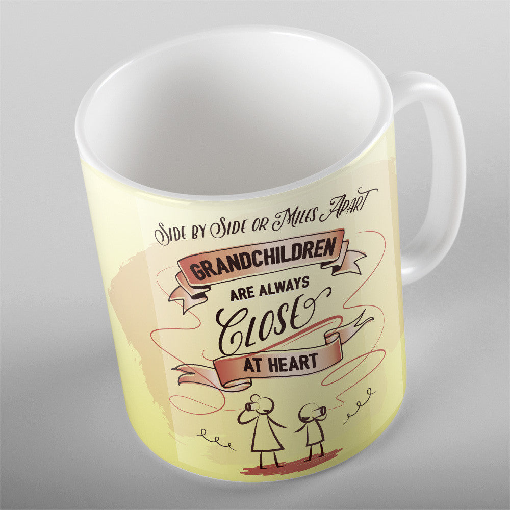Side By Side Or Miles Apart My Grandkids Are Always Close At Heart - 11oz MUG