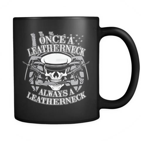 Marines Coffee Mug 11oz Black - Always A Leatherneck - n4v7-4z2-mg 451402502