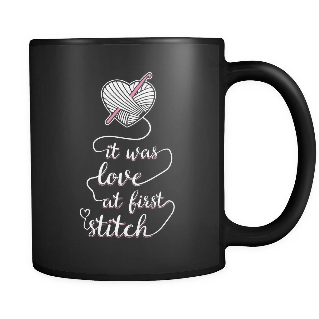 Crochet Coffee Mug 11oz Black - Love At First Stitch - c4oc-b12-mg 459499704