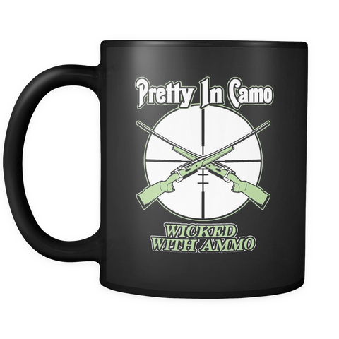 Hunting Coffee Mug 11oz Black - Wicked With Ammo - h2n7-b17-mg