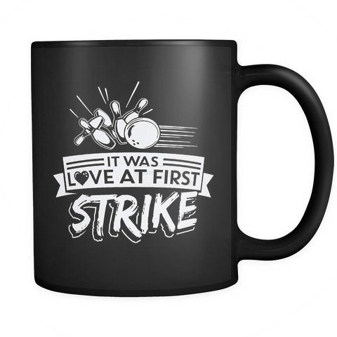Bowling Coffee Mug 11oz Black - Love At First Strike - b0w9-b12-mg 479392238