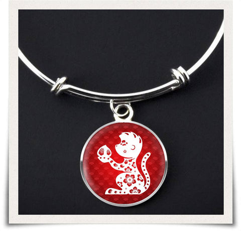 Chinese Zodiac Monkey Necklace and Bangle - z91c-b3-nl4 477428102