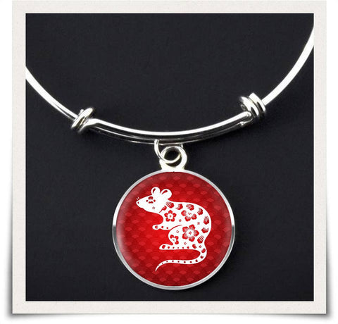 Chinese Zodiac Rat Necklace and Bangle - z91c-b3-nl8 490926649
