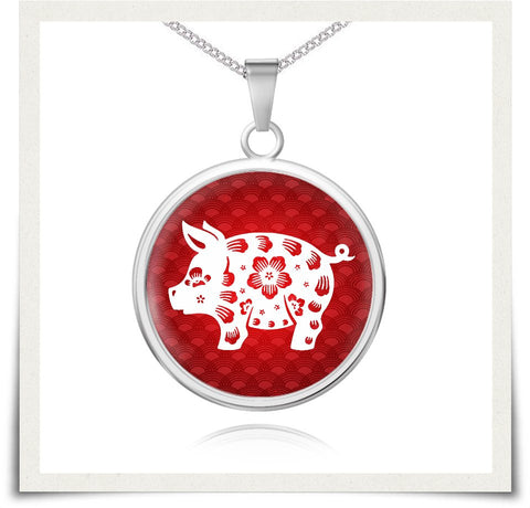 Chinese Zodiac Pig Necklace and Bangle - z91c-b3-nl6 477428482