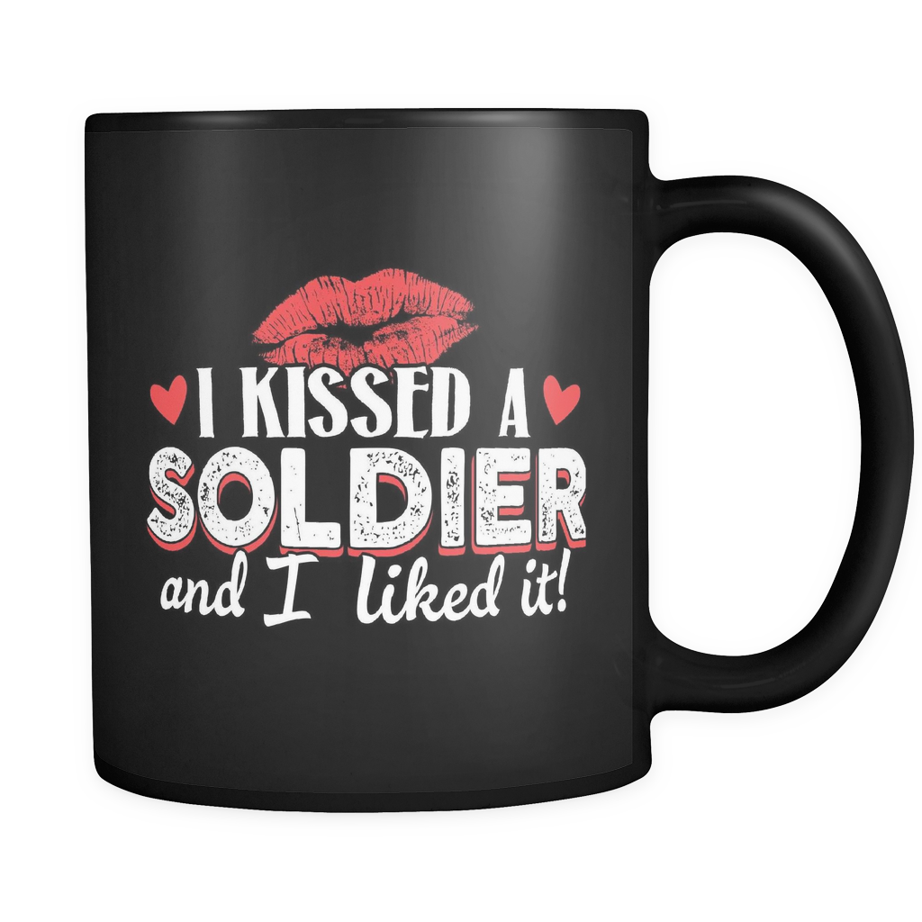 Army Wife Coffee Mug 11oz Black - I Kissed a Soldier and I Liked It - 4rm7-4z-mg 464555153