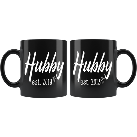 Couples Coffee Mug 11oz Black - Hubby 2018 - c8p2-wh18-mg