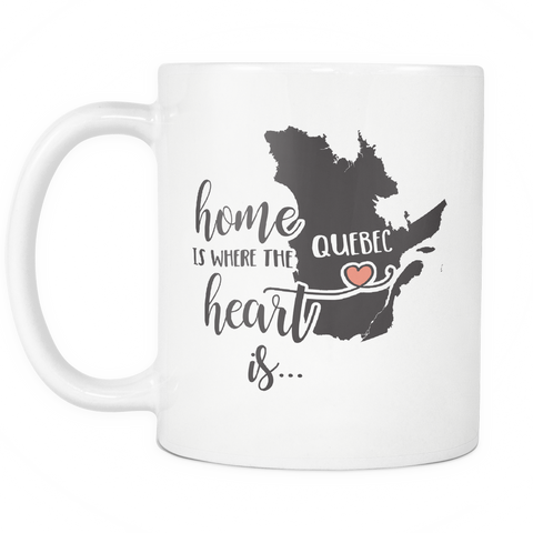 Quebec State Coffee Mug 11oz White - Heart Is In Quebec - c4d4-q63c-mg 519410714