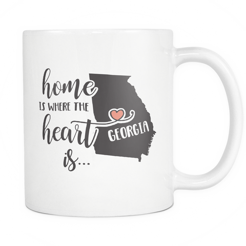 Georgia State Coffee Mug 11oz White - Heart Is In Georgia - 5t43-9r9a-mg 521369626
