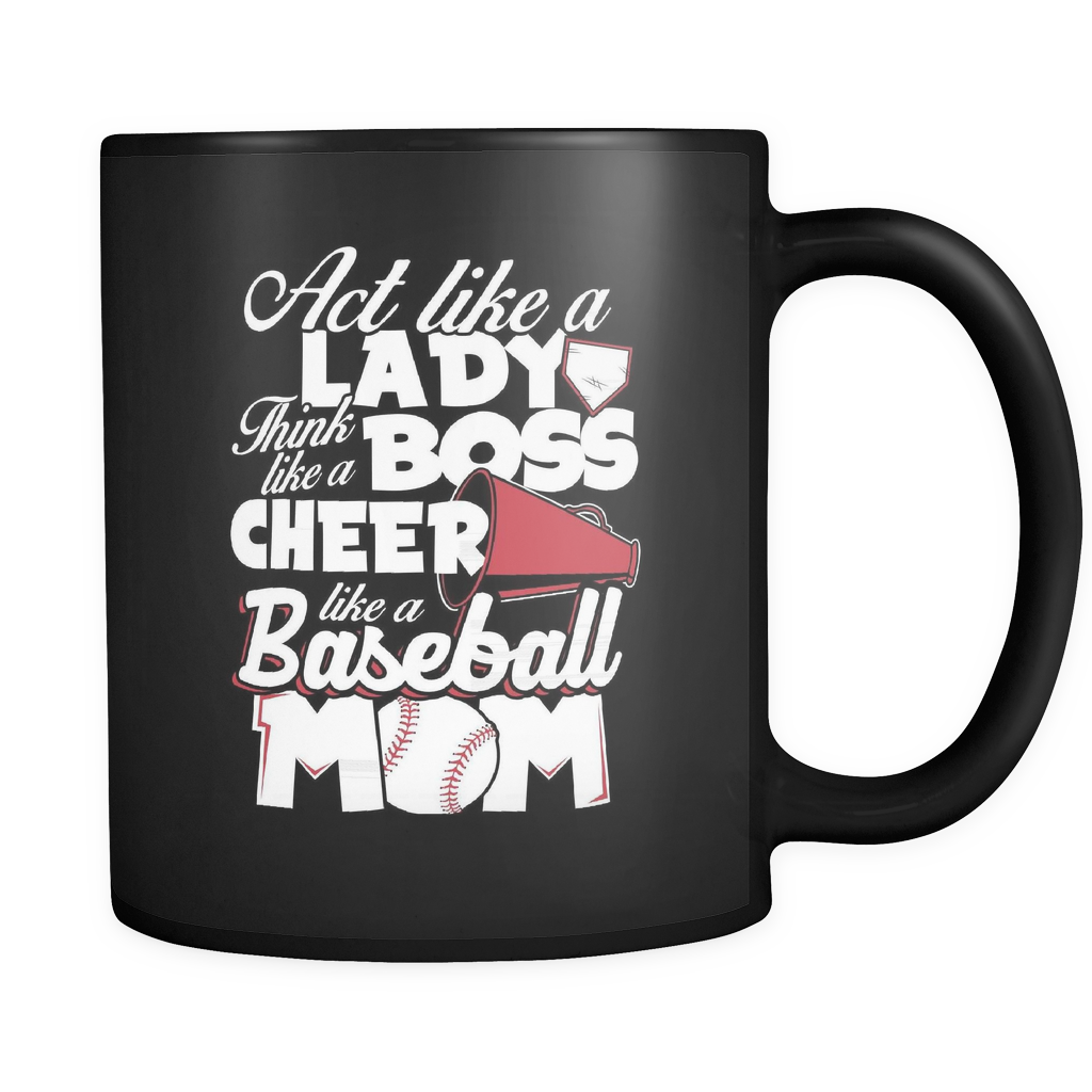 Baseball Coffee Mug 11oz Black- Cheer Like A Baseball Mom - b45e-b17-mg 461253082