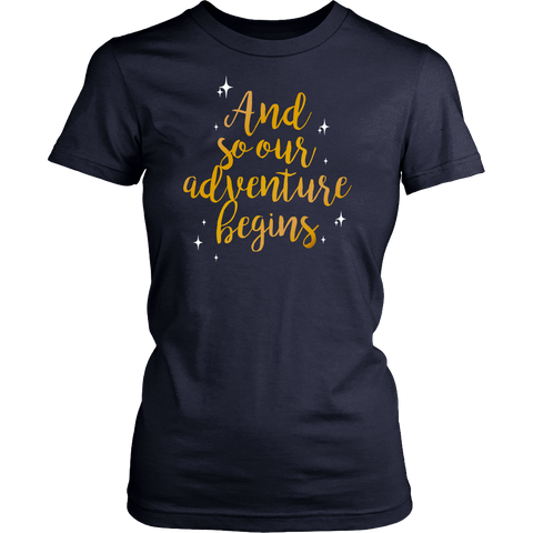 Cute Wedding Engagement Shirt - And So Our Adventure Begins - 548018557