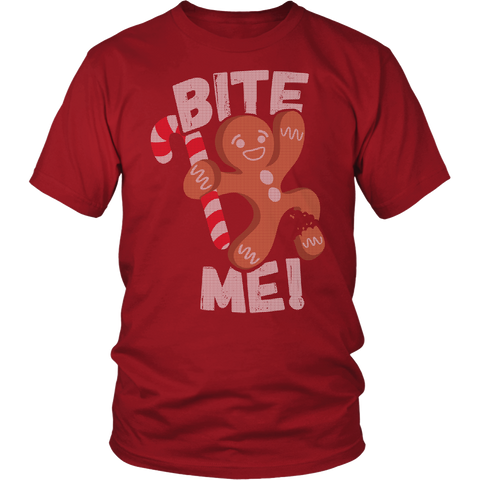 Funny Christmas Gingerbread Shirt - Bite Me! - 480669430