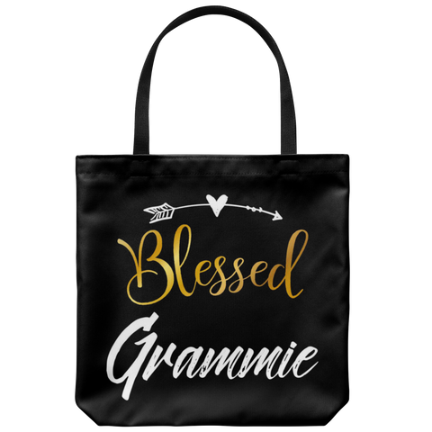 "Blessed Grammie 18""x18"" Black Tote Bag"