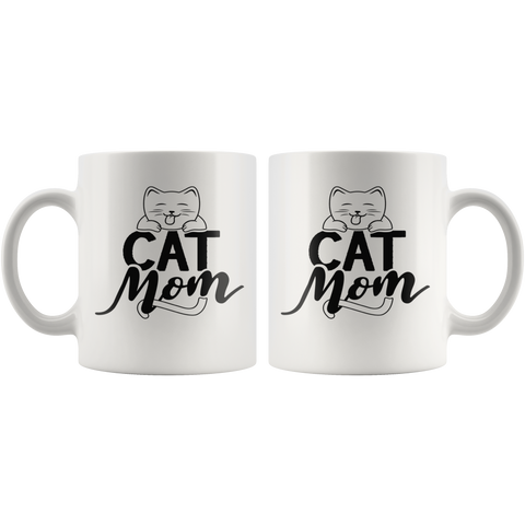 Cat Lovers Coffee Mug 11oz White - Cat Mom - c0u3-c47t-mg2