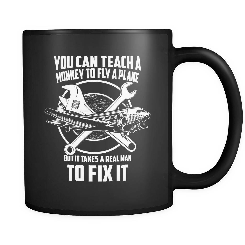 Aircraft Mechanic's Coffee Mug 11oz Black - Teach Monkey To Fly A Plane - 4cf7-b19-mg 481741559