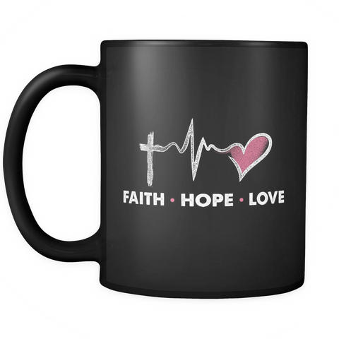 Christian Coffee Mug 11oz Black - Faith Hope Love - c4r1-4z-mg 451290150