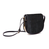 mata hari x Peony Rice Collaboration: Ali Saddlebag black embossed stingray leather