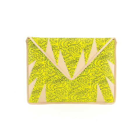 mata hari x A-Morir Collaboration: Envelope Clutch neon yellow/ nude leather