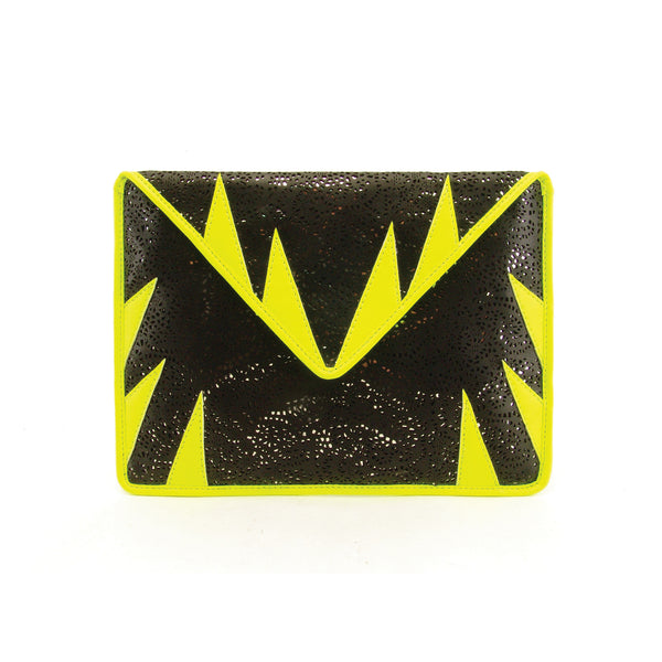 mata hari x A-Morir Collaboration: Envelope Clutch black/ neon yellow