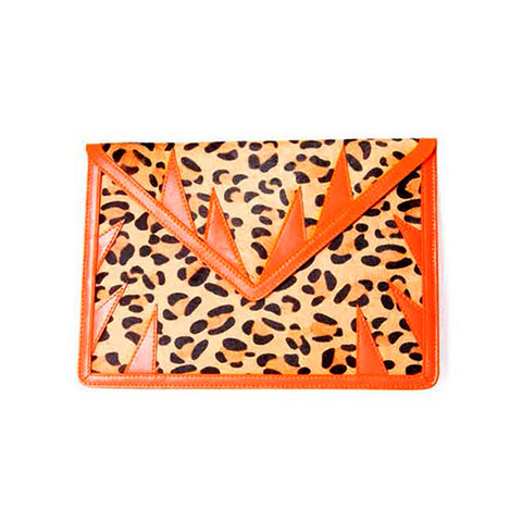 mata hari x A-Morir Collaboration: Envelope Clutch leopard printed hair calf fur/ neon orange