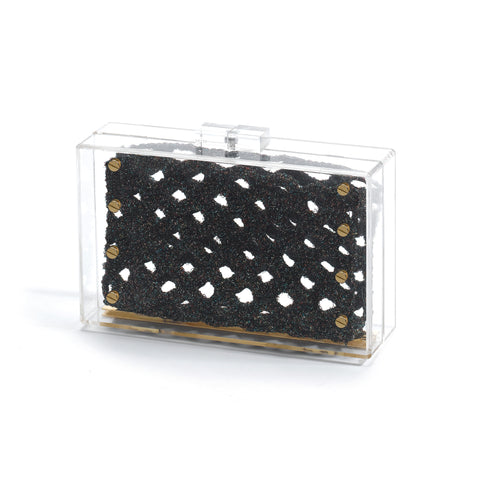 mata hari x Johanna Ho Collaboration: Ceci Acrylic Clutch black rainbow hologram