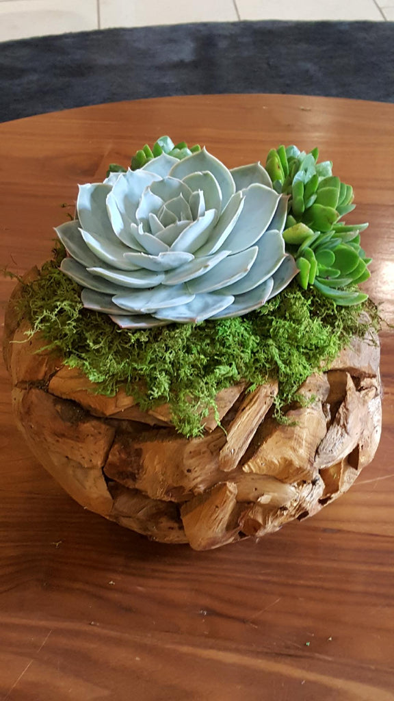 wooden container floral arrangment