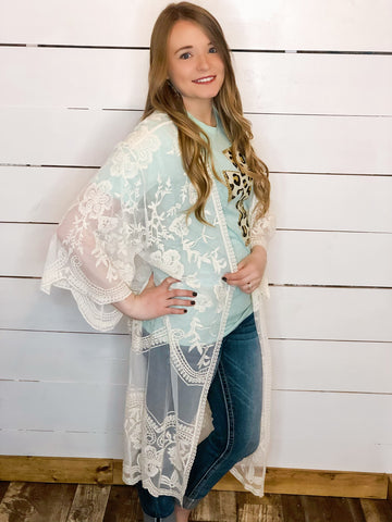 Lace duster Cream
