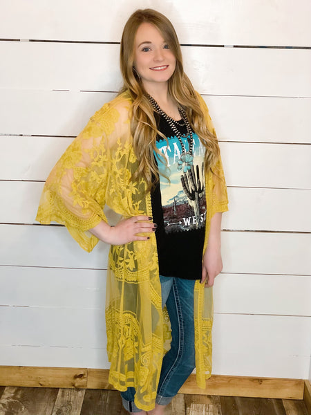 Lace Duster mustard