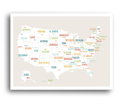 USA Map in Beige
