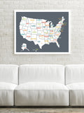 USA Map in Dark Grey
