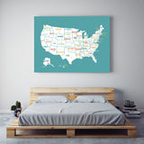 USA Map in Turquoise