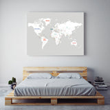 World Map in Light Grey
