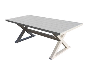 Aluminium Table and 2 Bench Seats Light Pine Colour