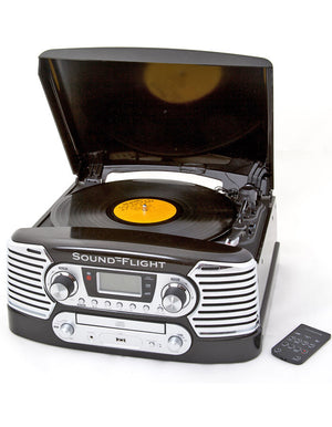 Retro Record and CD Player - Black