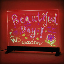 "Load image into Gallery viewer, Woodsam LED Writing Board - 16"" x 12"" Clear Glass w/ 2 Liquid Chalk Markers - Great for Kids Home Business Office Holiday Gift - Woodsam"