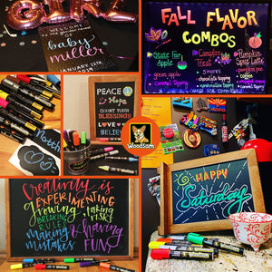 12 Ct Liquid Chalk Markers with 8 Neon, Bold and 4 Metallic Colors - Free 24 Chalkboard Labels - 6mm Chisel and Bullet Reversible Tips - Dry Erasable Marker - Chalk Pen for Chalkboard, Glass - Woodsam