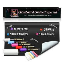 "Load image into Gallery viewer, Extra Large Chalkboard Contact Paper Roll - 17.3""x196.9"" (17 Feet) - 5 Chalks Markers and 5 Chalks Included - Blackboard Wall Decal Vinyl Wallpaper - Woodsam"