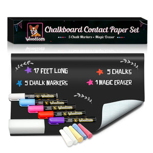 "Extra Large Chalkboard Contact Paper Roll - 17.3""x196.9"" (17 Feet) - 5 Chalks Markers and 5 Chalks Included - Blackboard Wall Decal Vinyl Wallpaper - Woodsam"