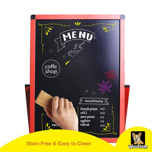 "Woodsam 28"" x 20"" LED A-Frame Sidewalk Chalkboard-Reversible Glass&Chalk Board Sign - Woodsam"