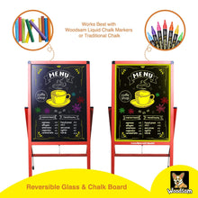 "Load image into Gallery viewer, Woodsam 28"" x 20"" LED A-Frame Sidewalk Chalkboard-Reversible Glass&Chalk Board Sign - Woodsam"