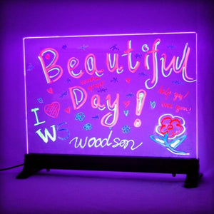 "Woodsam LED Writing Board - 16"" x 12"" Clear Glass w/ 2 Liquid Chalk Markers - Great for Kids Home Business Office Holiday Gift - Woodsam"