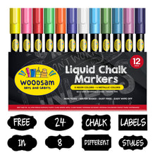 Load image into Gallery viewer, 12 Ct Liquid Chalk Markers with 8 Neon, Bold and 4 Metallic Colors - Free 24 Chalkboard Labels - 6mm Chisel and Bullet Reversible Tips - Dry Erasable Marker - Chalk Pen for Chalkboard, Glass - Woodsam