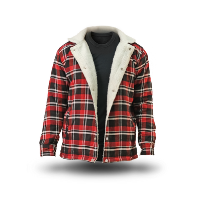 Sherpa Flannel Jacket Christmas Red