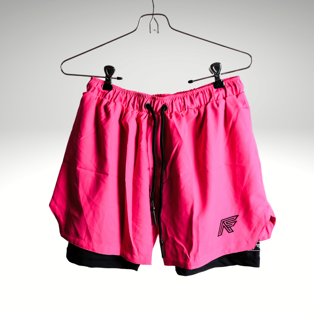 Hot Pink 2-in-1 Compression Shorts V1