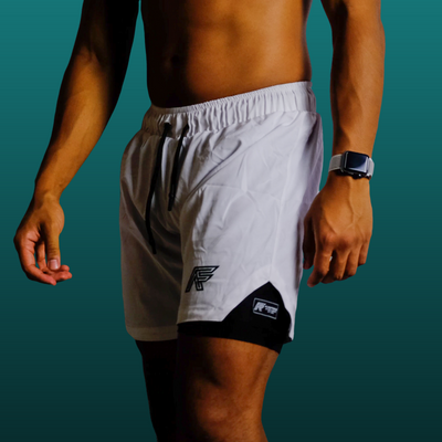 White 2-in-1 Compression Shorts V1